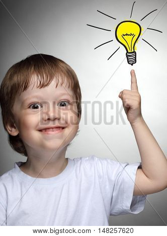 Children idea with draft lamp, boy came up with the idea