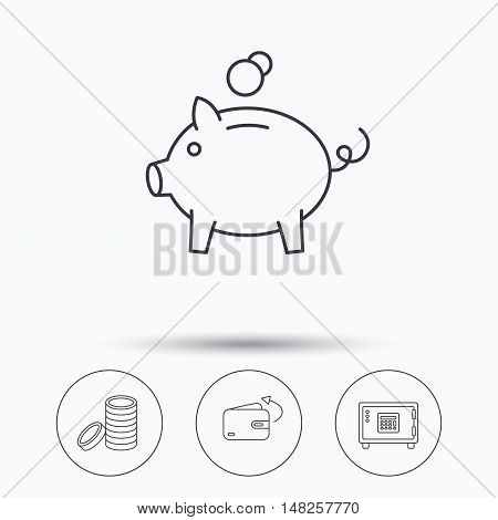 Piggy bank, cash money and wallet icons. Safe box, send money linear signs. Linear icons in circle buttons. Flat web symbols. Vector