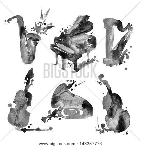 Set of watercolor musical instruments in sketch style.