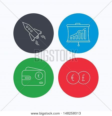 Currency exchange, cash money and startup icons. Wallet, statistics linear signs. Linear icons on colored buttons. Flat web symbols. Vector