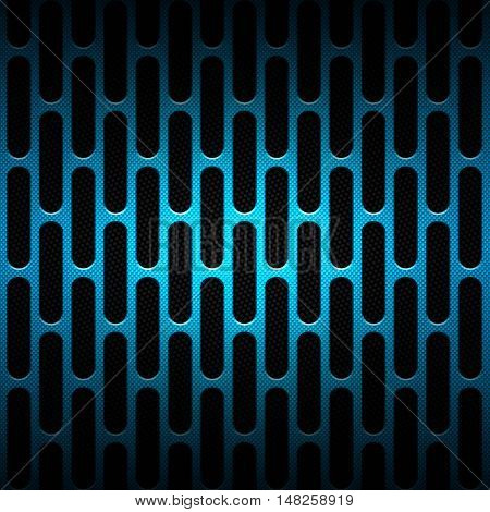 set 8. blue carbon fiber mesh on black metal plate. background and texture. 3d illustration.
