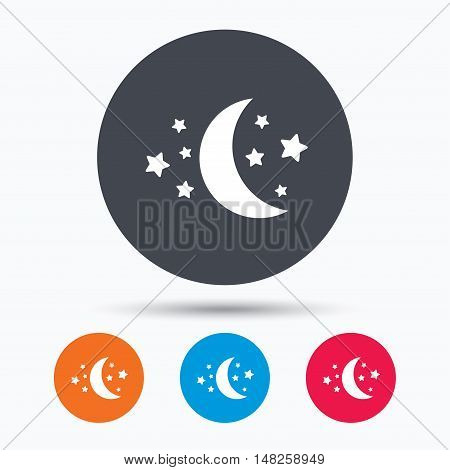 Moon and stars icon. Night sleep symbol. Colored circle buttons with flat web icon. Vector