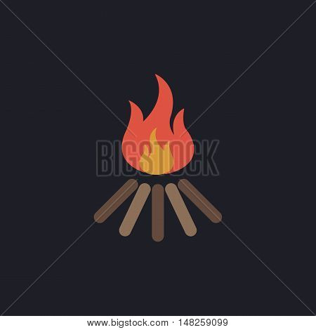 Bonfire Color vector icon on dark background