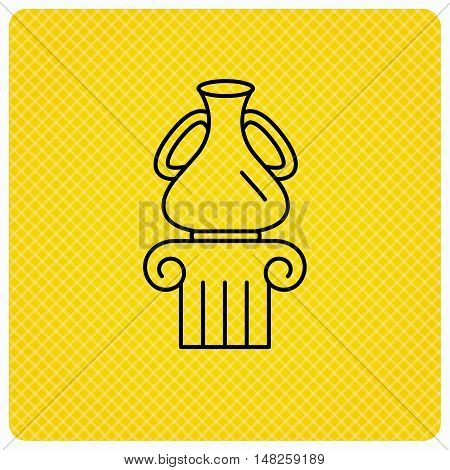 Museum icon. Antique vase on pillar sign. Linear icon on orange background. Vector