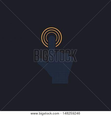 hand click Color vector icon on dark background