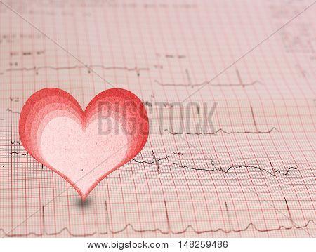 EKG - Electrocardiogram graph and heart shape, ekg heart rhythm, medicine concept