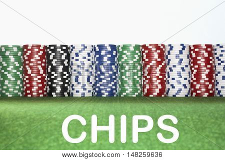Stacks of Gambling Chips with text saying Chips