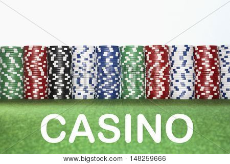 Stacks of Gambling Chips with text saying Casino
