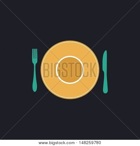tableware Color vector icon on dark background