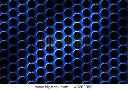 blue chrome grille. metal background and texture. 3d illustration.
