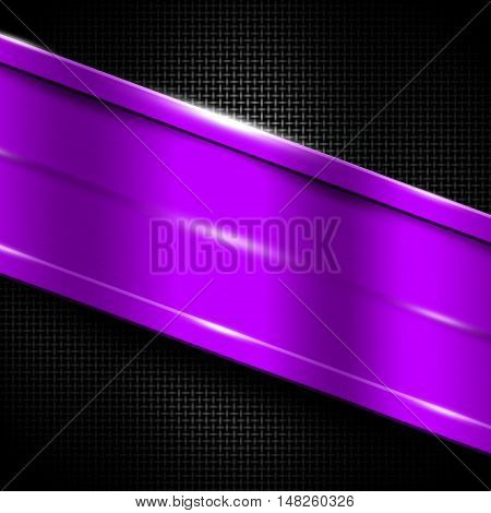 purple metal frame on black metallic mesh. metal background. 3d illustration.