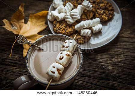 Hot cocoa with marshmallows on the old wooden boards. Coffee cocoa cookies chestnuts the nuts pine cone maple leaf.Autumn Still Life
