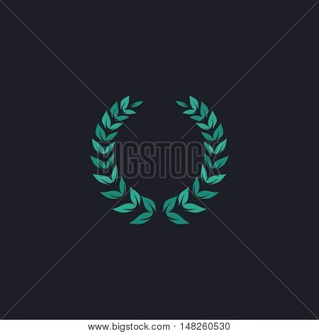 winner wreath Color vector icon on dark background