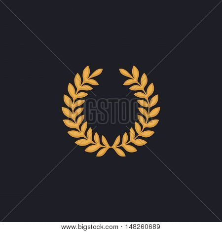 victory wreath Color vector icon on dark background