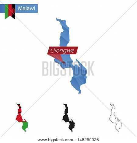 Malawi Blue Low Poly Map With Capital Lilongwe.