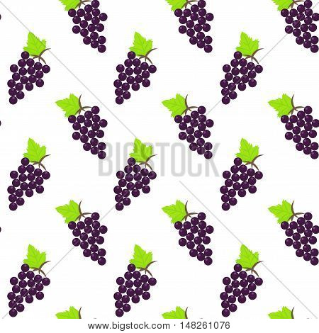 Grapes vector flat seamless pattern. The bunch of ripe dark grape background. Raw vegan food.