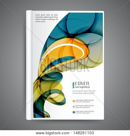 Color book design with abstract lines and waves