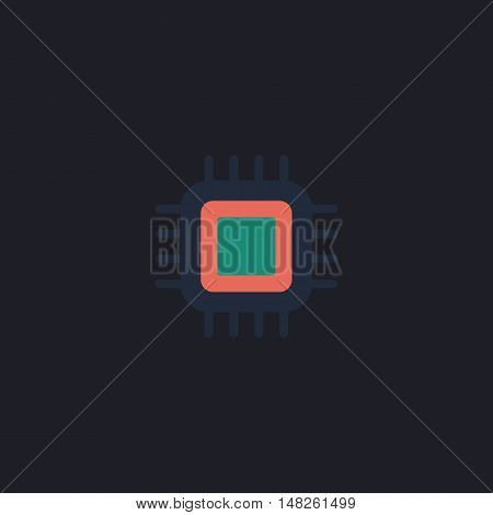 cpu Color vector icon on dark background