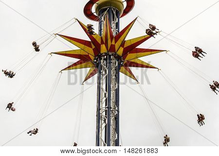 St. Petersburg, Russia - 13 August, People on carousel,13 August, 2016. Amusement park