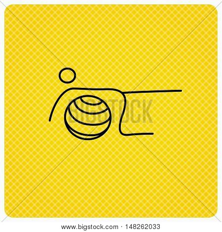 Pilates fitness sign. Gymnastic ball icon. Sport workout symbol. Linear icon on orange background. Vector