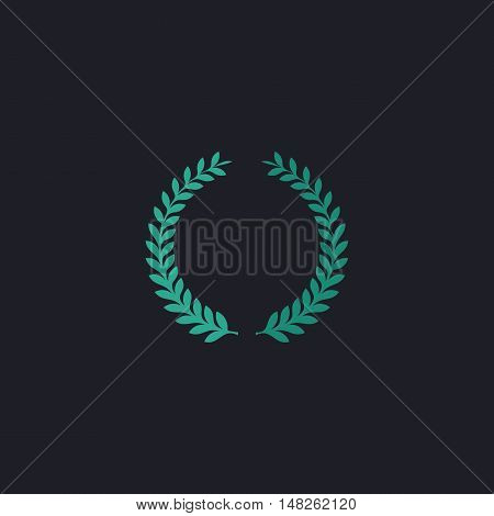 laurel wreath Color vector icon on dark background