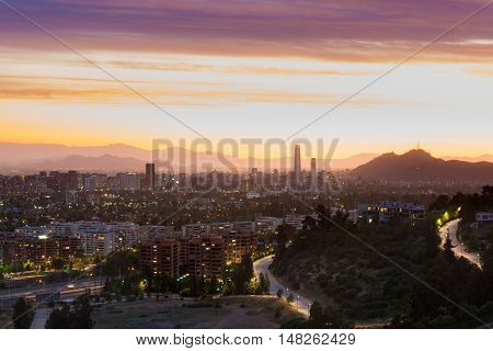 Panoramic view of Santiago de Chile with Las Condes and Vitacura districts and the wealthy neighborhood of Lo Curro