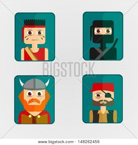 Vector illustration set icon avatar combat characters.