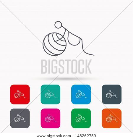 Gymnastic for pregnant icon. Pilates fitness sign. Sport workout symbol. Linear icons in squares on white background. Flat web symbols. Vector