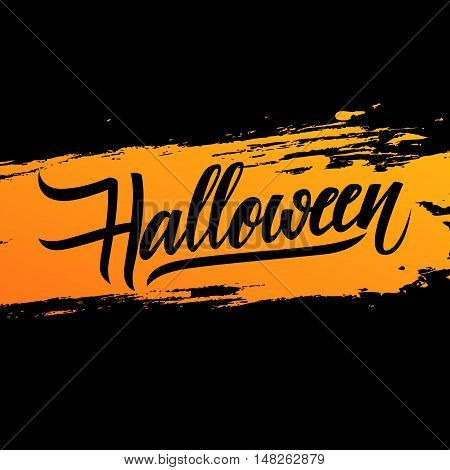 Handwritten word Halloween on brush stroke background. Hand drawn lettering. Calligraphic element for your design. Vector illustration.