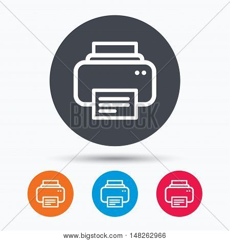 Printer icon. Print documents technology symbol. Colored circle buttons with flat web icon. Vector