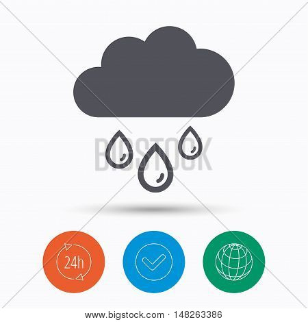 Cloud with rain drops icon. Rainy day symbol. Check tick, 24 hours service and internet globe. Linear icons on white background. Vector
