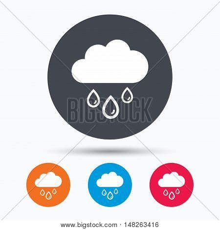 Cloud with rain drops icon. Rainy day symbol. Colored circle buttons with flat web icon. Vector