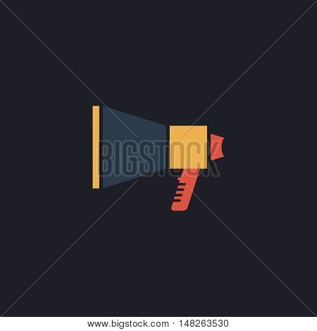 loudspeaker Color vector icon on dark background