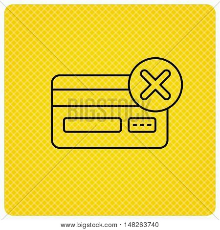 Remove credit card icon. Shopping sign. Linear icon on orange background. Vector