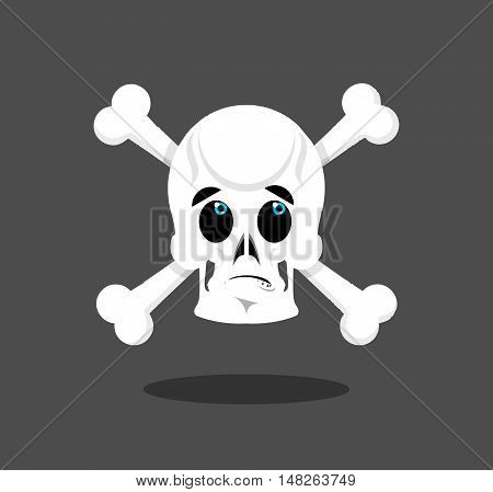 Surprised Skull Emotion. Crossbones. Discouraged Skeleton Head