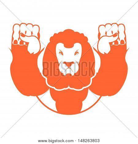 Angry Lion. Aggressive Wild Beast. Logo Big Leo. Evil Wild Animal. Emblemo For Sports Team
