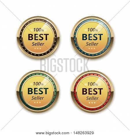 Vector Set of Top Quality Guarantee Golden Brown Red Blue Purple Violet labels  Close up Isolated on White Background