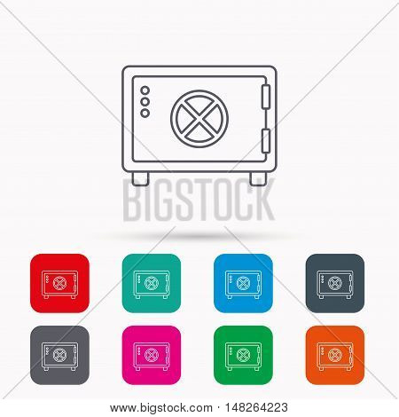 Safe icon. Money deposit sign. Circle handle symbol. Linear icons in squares on white background. Flat web symbols. Vector