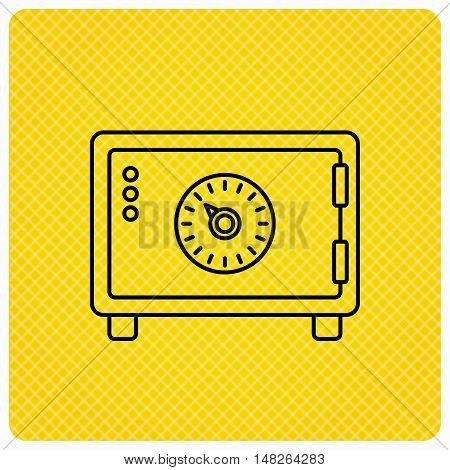 Safe icon. Money deposit sign. Combination lock symbol. Linear icon on orange background. Vector