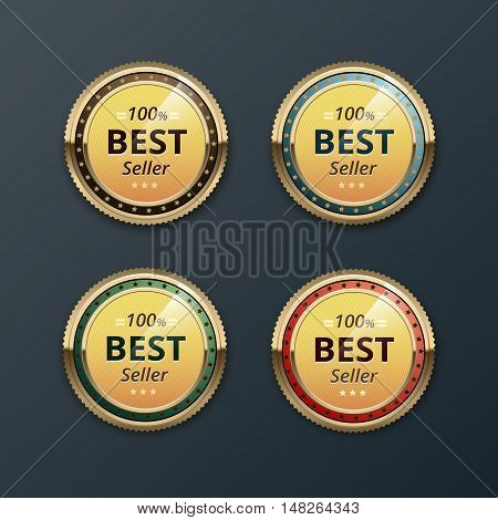 Vector Set of Top Quality Guarantee Golden Brown Red Blue Purple Violet labels  Close up Isolated on Background