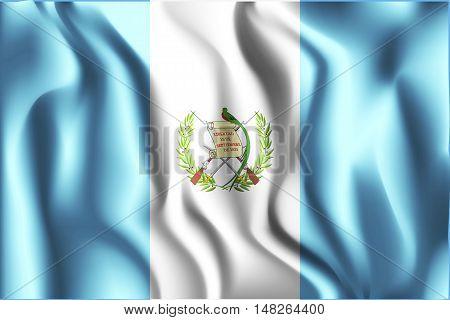 Flag Of Guatemala. Rectangular Shaped Icon With Wavy Effect
