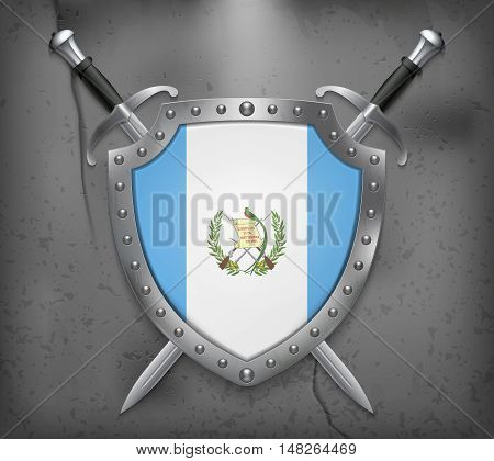 Flag Of Guatemala. Vector Medieval Background