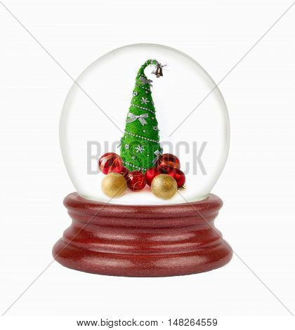 Christmas snow globe in white background. Can be used as a Christmas or a New Year gift or symbol.