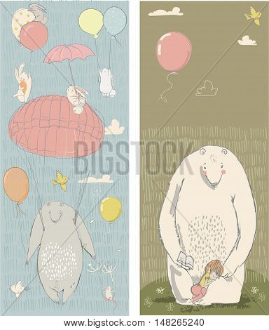 cute polar bear, hares and girl. vector illustration