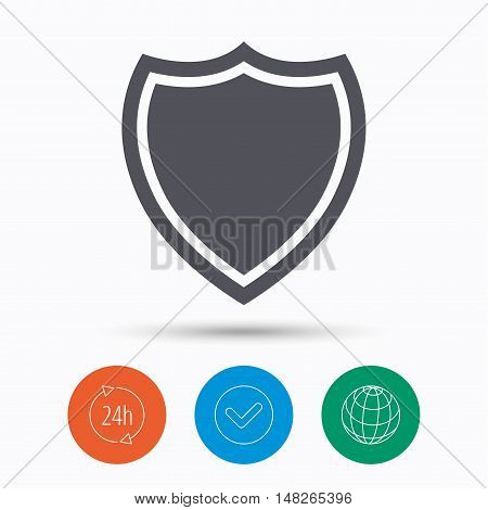 Shield protection icon. Defense equipment symbol. Check tick, 24 hours service and internet globe. Linear icons on white background. Vector