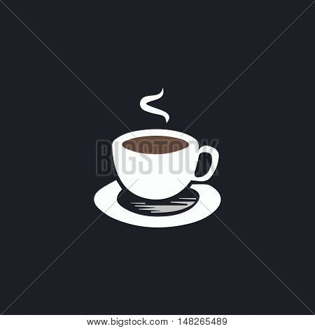 Hot coffe Color vector icon on dark background