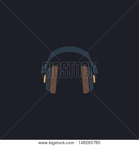 Headphones Color vector icon on dark background