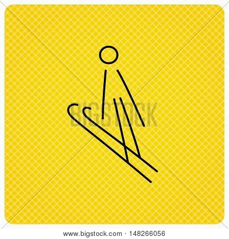 Ski jumping icon. Skis extreme sport sign. Professional competition symbol. Linear icon on orange background. Vector
