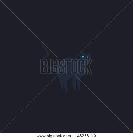 Evil Cat Color vector icon on dark background