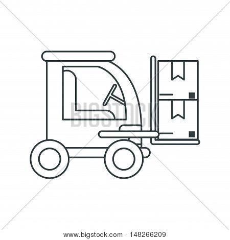Packages and forklift icon. Delivery shipping and industry theme. Isolated design. Vector illustration